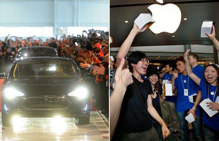 Frenetischer Fan-Jubel: Tesla und Apple heizen den Hype um ihre Produkte in den eigenen Ladengeschäften an