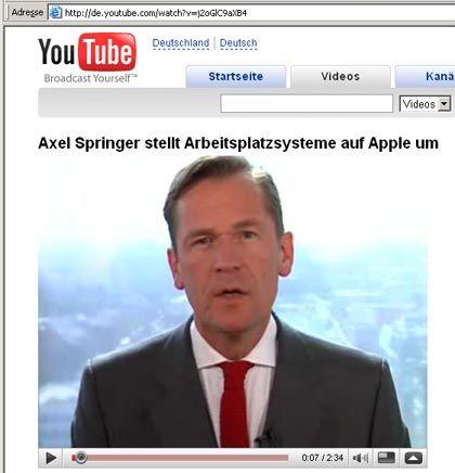 Vom Intranet zu YouTube: Springer-Chef Döpfner wandte sich per Video an seine Mitarbeiter
