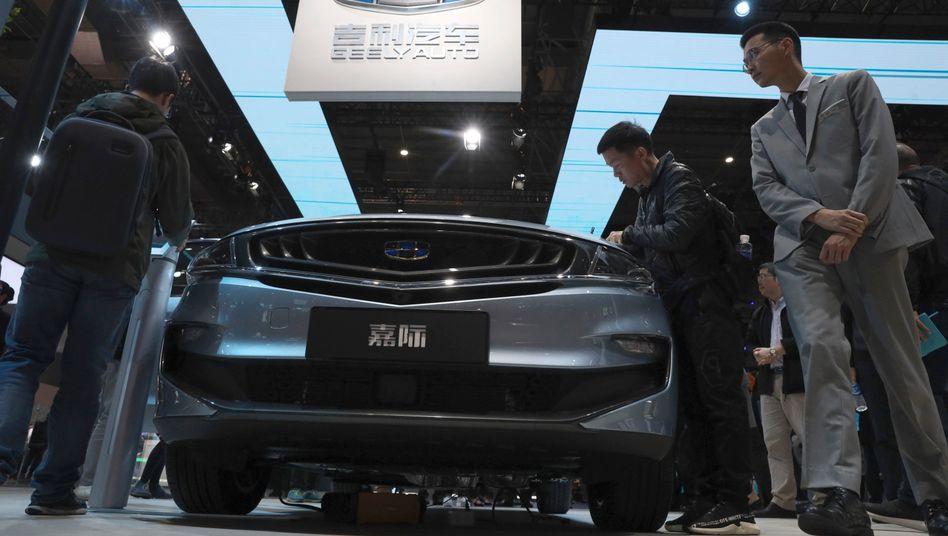 Reichlich Plattform-Spielmaterial für Kooperationen: Modell des chinesischen Autoherstellers Geely bei der Automesse in Shanghai