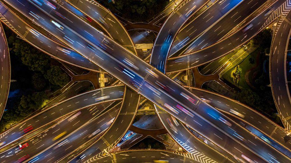 Straßen in Shanghai: Die USA haben das Ride-Hailing erfunden, die Bedingungen in China sind aber noch fruchtbarer