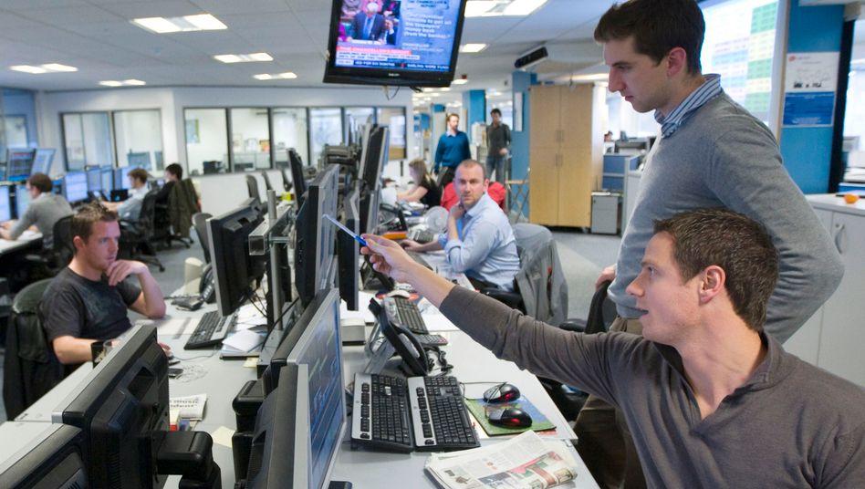 Händler in London: Die Boni liegen im Schnitt schätzungsweise um 22 Prozent unter Vorjahresniveau