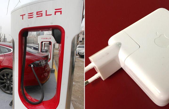 Tesla-Schnellladesäule, Apple-Netzgerät: Auch scheinbar Nebensächliches wird schick gestaltet