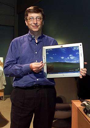 In diese Kiste passt sicher die ganze Welt: Bill Gates mit Tablettcomputer