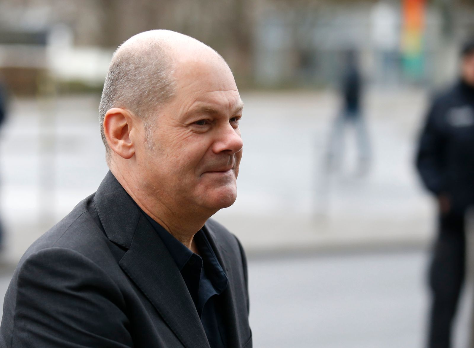 Scholz of the Social Democratic Party (SPD) arrives for coalition talks about forming a new coalition government at the CDU headquarters in Berlin