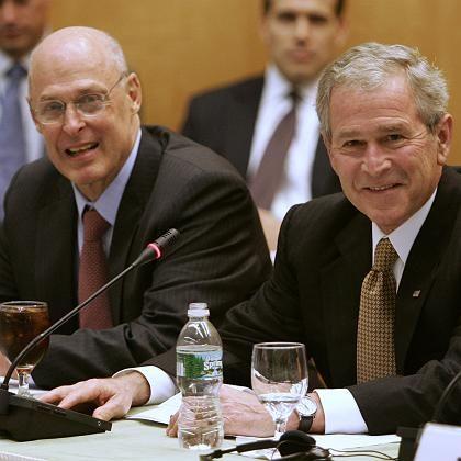 Leichte Entspannung: Finanzminister Paulson (l), US-Präsident Bush