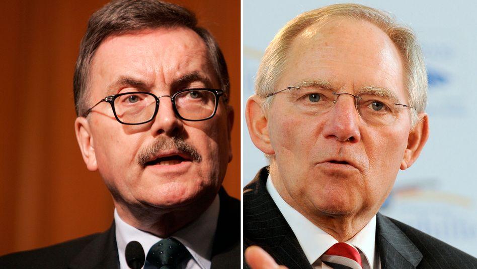 EZB-Direktor Jürgen Stark und Finanzminister Wolfgang Schäuble: Offener Konflikt