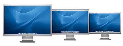 Breitwandparade: Apples Cinema Displays haben alle das 16:9-Format. Die Auflösung liegt bei 1680 x 1050 Pixeln (20 Zoll), 1920 x 1200 Pixeln (23 Zoll) oder 2560 x 1600 Pixeln (30 Zoll).