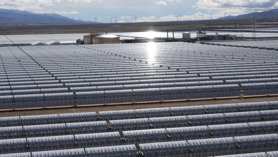 Große Hoffnungen: Parabolrinnenkraftwerk von Solar Millennium in Spanien. Das weltgrößte derartige Projekt in den USA ist gestoppt