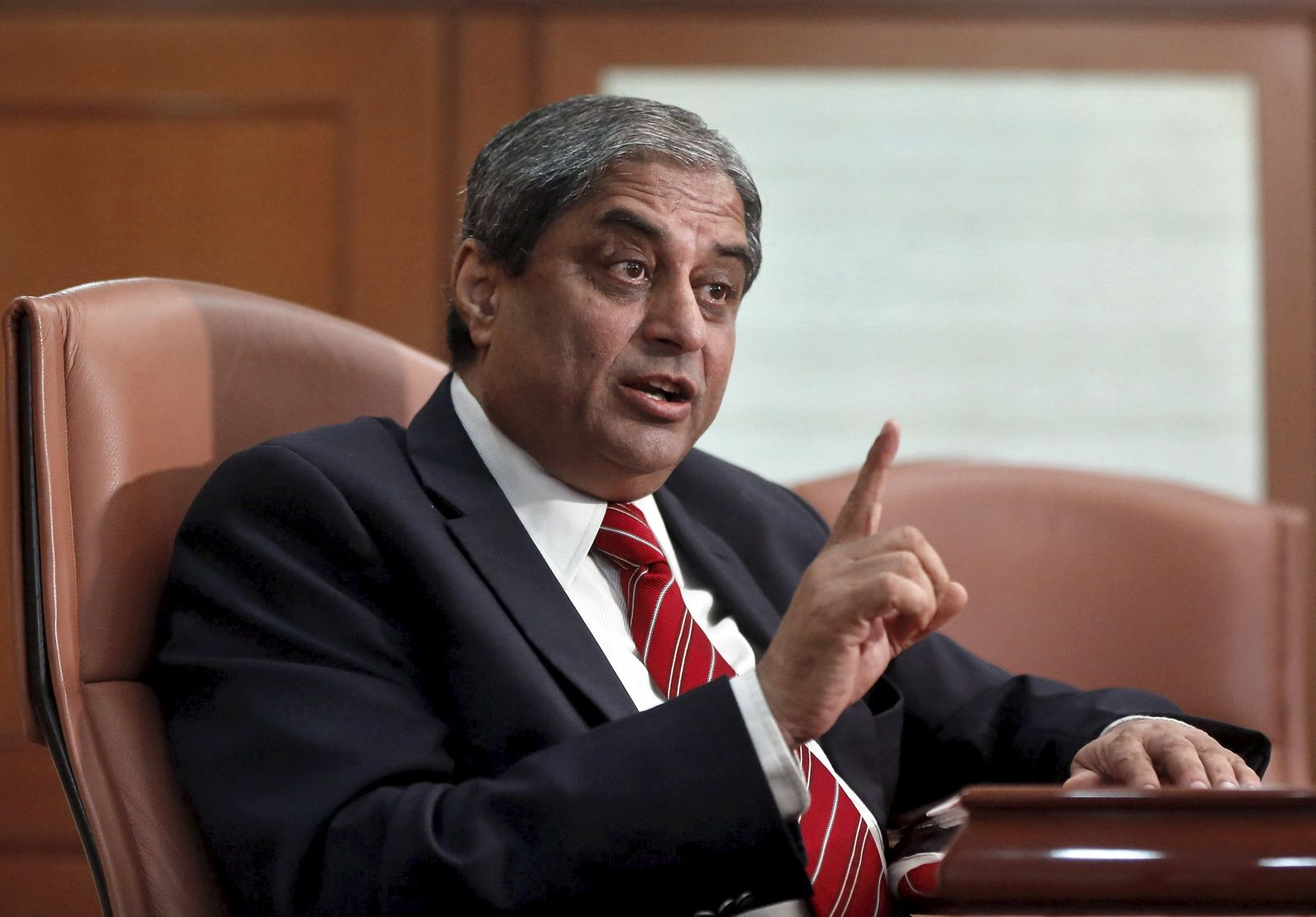 Puri, Managing Director of India's HDFC Bank, speaks during an interview with Reuters in Mumbai