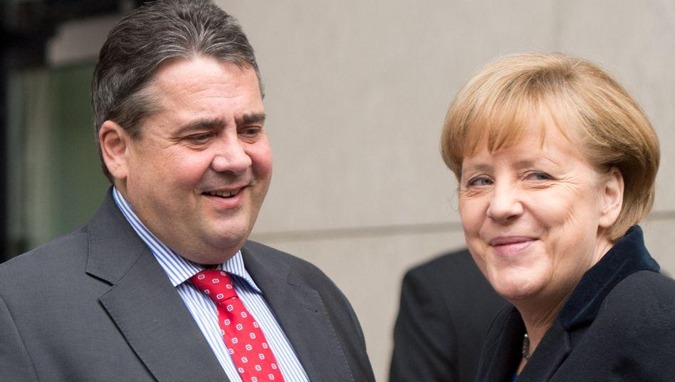 Koalitionäre in spe: Bundeskanzlerin Angela Merkel (CDU) und SPD-Chef Sigmar Gabriel