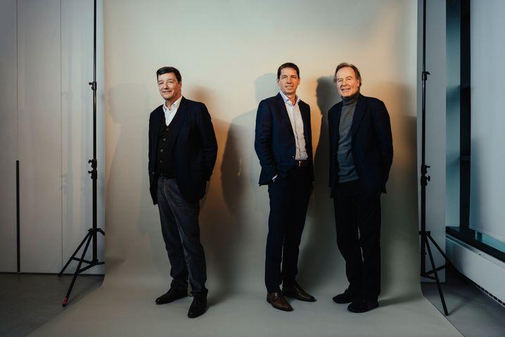 Bio-Trio:Die Biontech-GeldgeberMichael Motschmann, Helmut Jeggleund HaupteignerThomas Strüngmann während des Fotoshootings für unser Interview