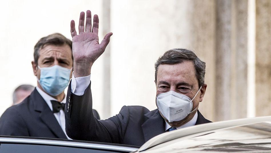 Whatever it takes: Der langjährige EZB-Präsident Mario Draghi am Mittwoch nach seinem Besuch in der Abgeordnetenkammer