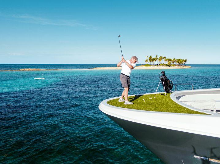 """Weites Feld: """"Gene Machines"""" Erster Ingenieur versucht auf den Bahamas, das Grüne im Blauen zu treffen."""