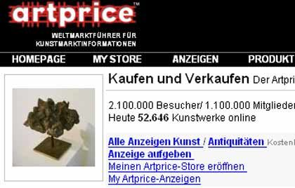 Artprice.com: Die Auktionspreisdatenbank gibt Auskunft über die Preissteigerung von Werken zeigenössischer Künstler