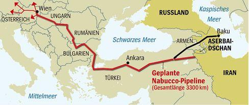 South-Stream-Konkurrenzprojekt: Verlauf der Gaspipeline Nabucco