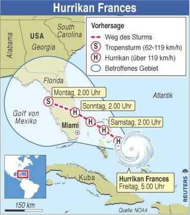 Wie eine Walze über eine Modellbahn: Der Weg, den Hurrikan Frances voraussichtlich nehmen wird