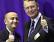 Alles klar für den Start in New York: Henning Schulte-Noelle (r.) und Richard Grasso