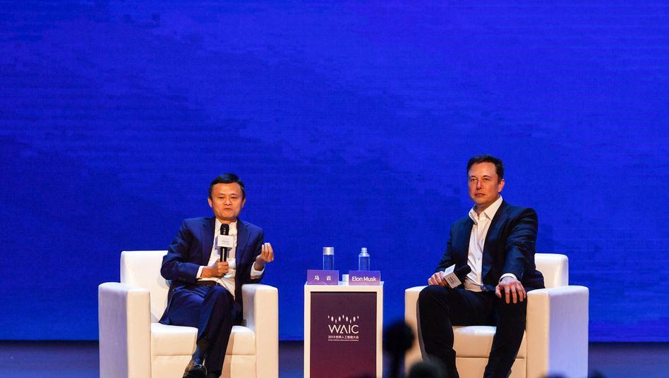 Jack Ma traf bei der Weltkonferenz für künstliche Intelligenz in Shanghai auf Elon Musk