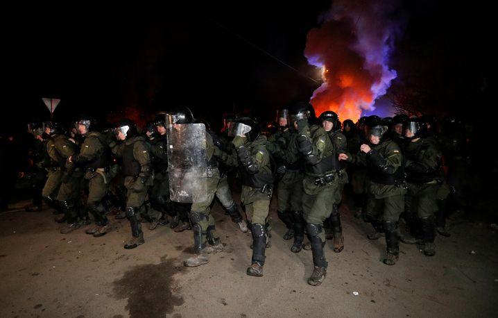 Proteste in der Ukraine gegen eine Quarantänestation