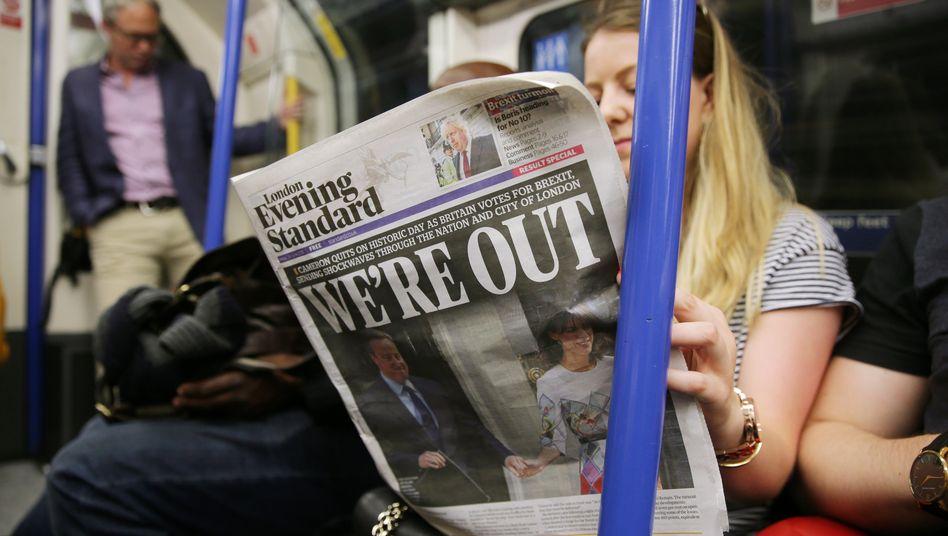 Londoner in der U-Bahn: Viele Briten ärgern sich angesichts steigender Preise bereits über ihren Brexit-Entscheid