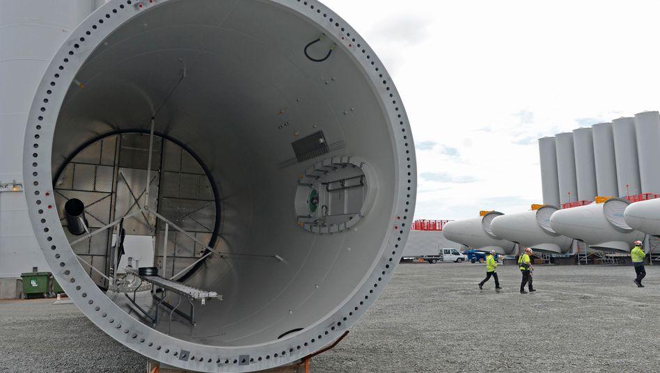 Windkraftanlagen von Siemens Energy vor der Installation