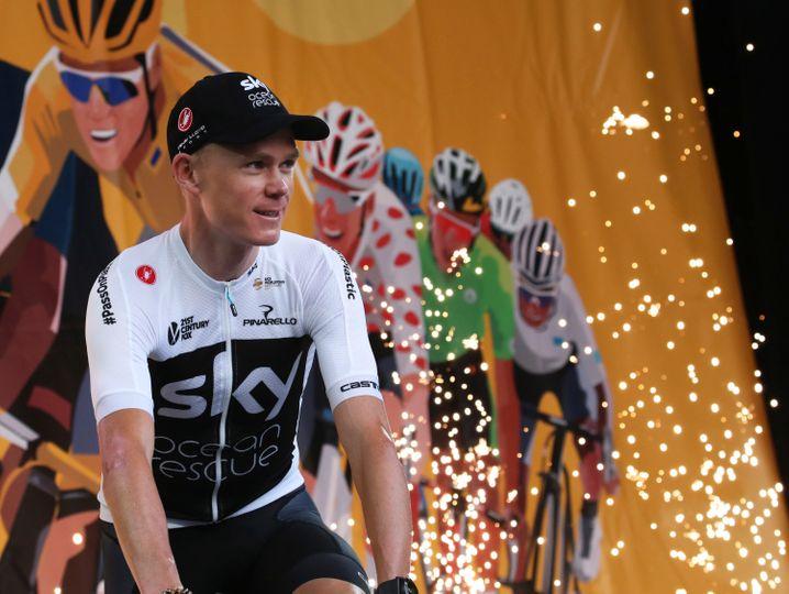 Chris Froom bei der Team-Vorstellung zur Tour de France 2018