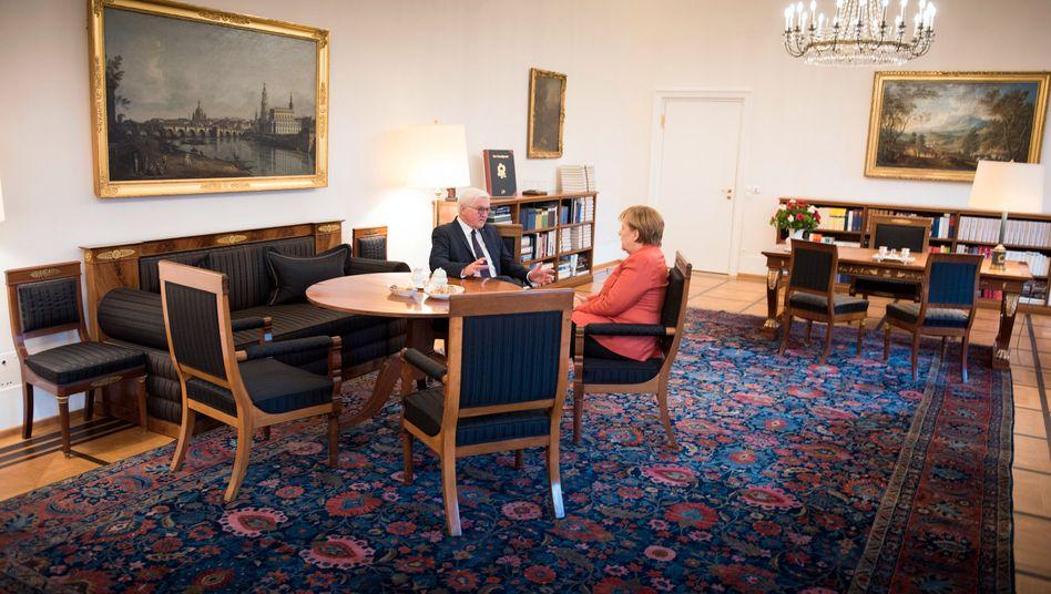 Das offizielle Foto der Bundesregierung: Angela Merkel (r.) mit Bundespräsident Frank-Walter Steinmeier zu Beginn ihres Treffens am Montag in Schloss Bellevue in Berlin.