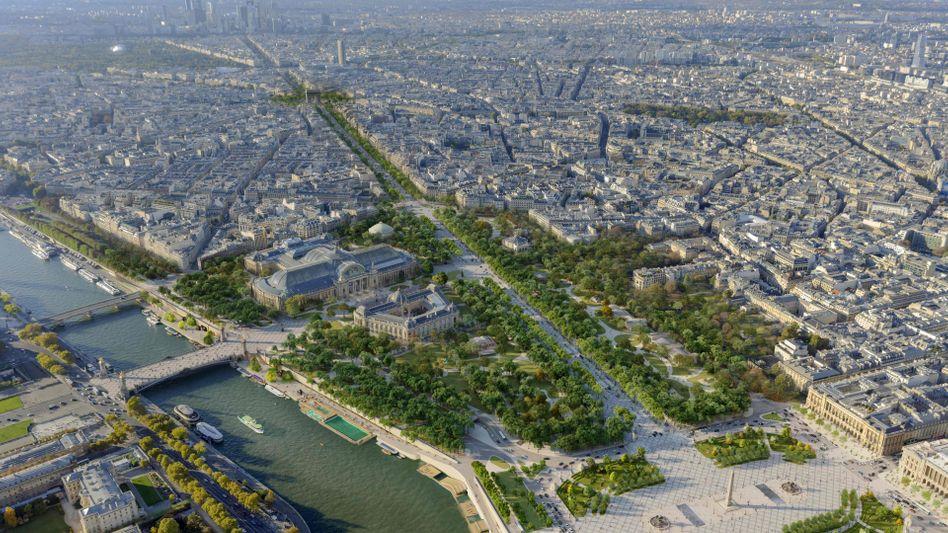 Verkehrsberuhigt: Blick über Place de la Concorde und Avenue des Champs-Elysées