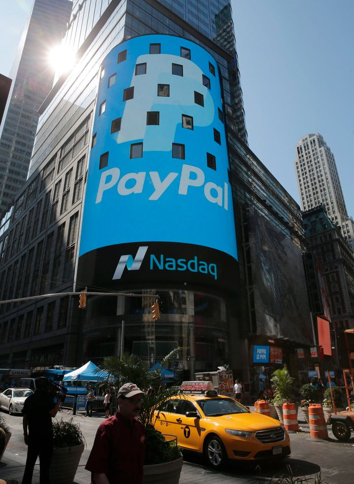Paypal-Logo an der Techbörse Nasdaq: Mehr wert als alle deutschen Banken zusammen