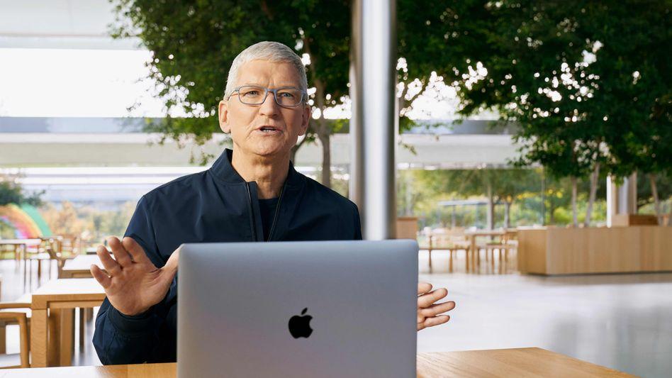 Apple-Chef Tim Cook während der Präsentation