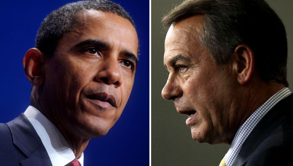 Der Präsident und der Blockierer: Das Repräsentantenhaus bleibt in Hand der Republikaner. Der republikanische Präsident der Kammer, John Boehner (r.), kündigte Widerstand gegen geplante Steuererhöhungen an