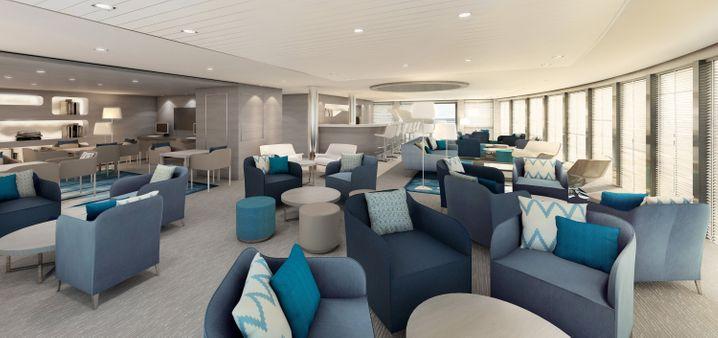 """Edles Design: Die Observatory Lounge auf der """"Le Lyrial"""" wartet mit Blau- und Grautönen auf."""