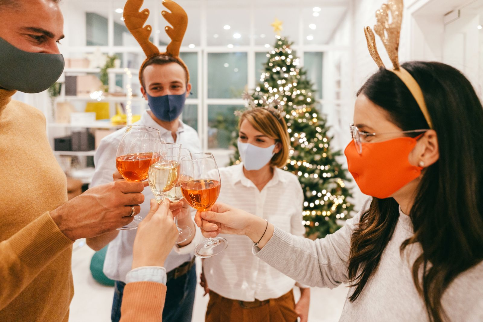 Christmas celebration in the office during Coronavirus pandemic