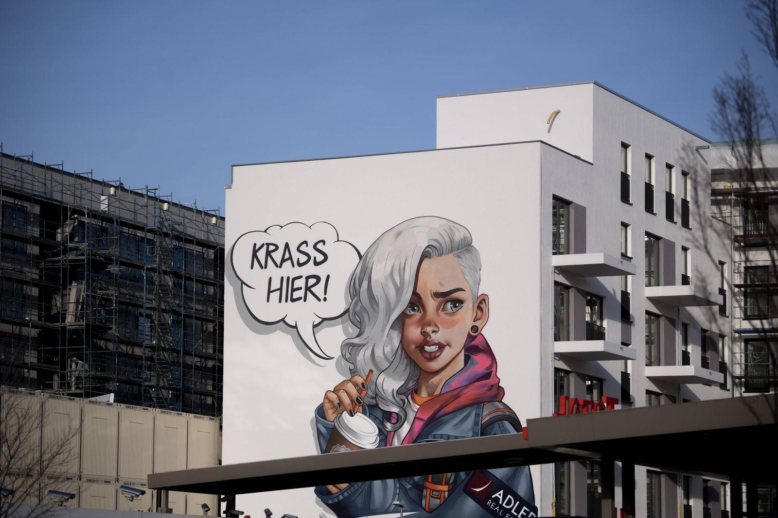 Baustelle Berlin DEU Deutschland Germany Berlin 04 02 2019 Werbung Krass Hier an der Baustelle
