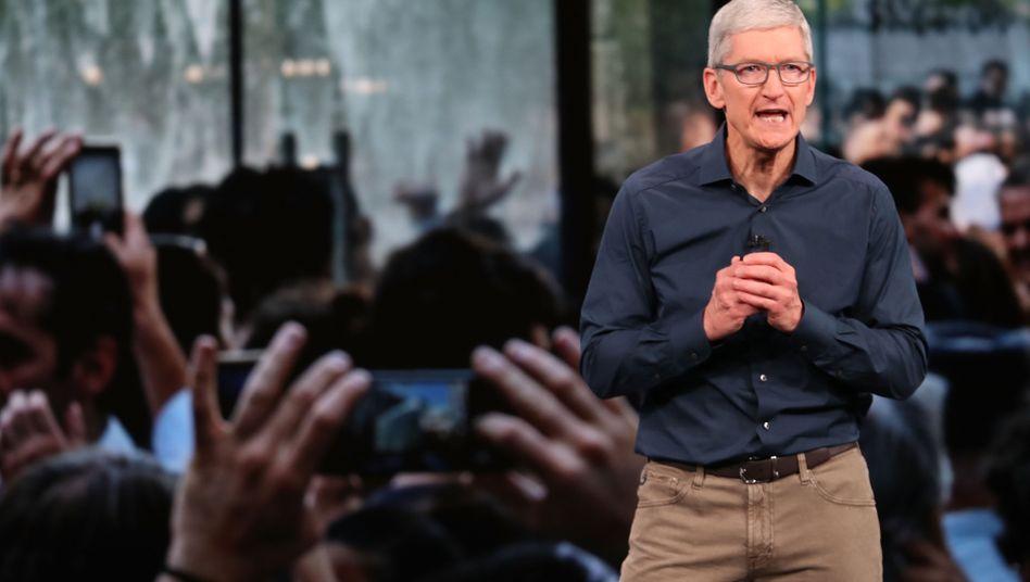 """Apples """"langfristige Gesundheit"""" und die """"Produkt-Pipeline"""" seien jedoch nie besser gewesen, versucht Apple-Chef Tim Cook die Sorgen von Anlegern zu zerstreuen"""