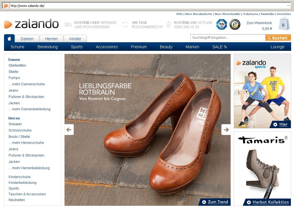 Screenshot / Shoppingclub / zalando