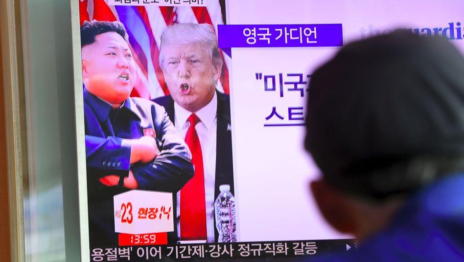 TV-Berichte im südkoreanischen Seoul: Trump und Kim Jong-Un nutzen die gleiche Sprache