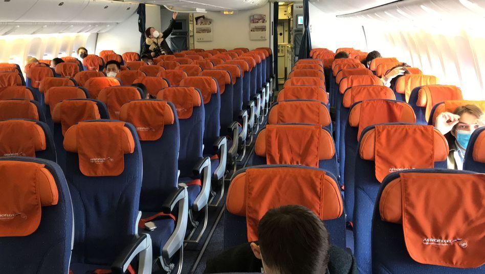 Aeroflot-Flug von Peking nach Moskau während der Corona-Krise