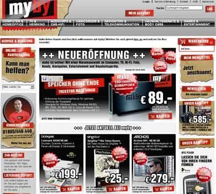 """Elektronikmarkt im Netz: Das Portal Myby erinnert an den Onlineauftritt der zum Springer-Verlag gehörenden """"Bild""""-Zeitung"""
