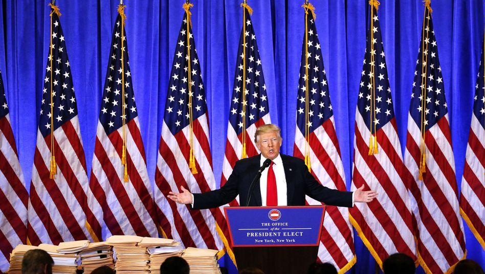 Trump bei einer Pressekonferenz: Wenn er will, kann er Strafzölle für Importe auch am Kongress vorbei einführen