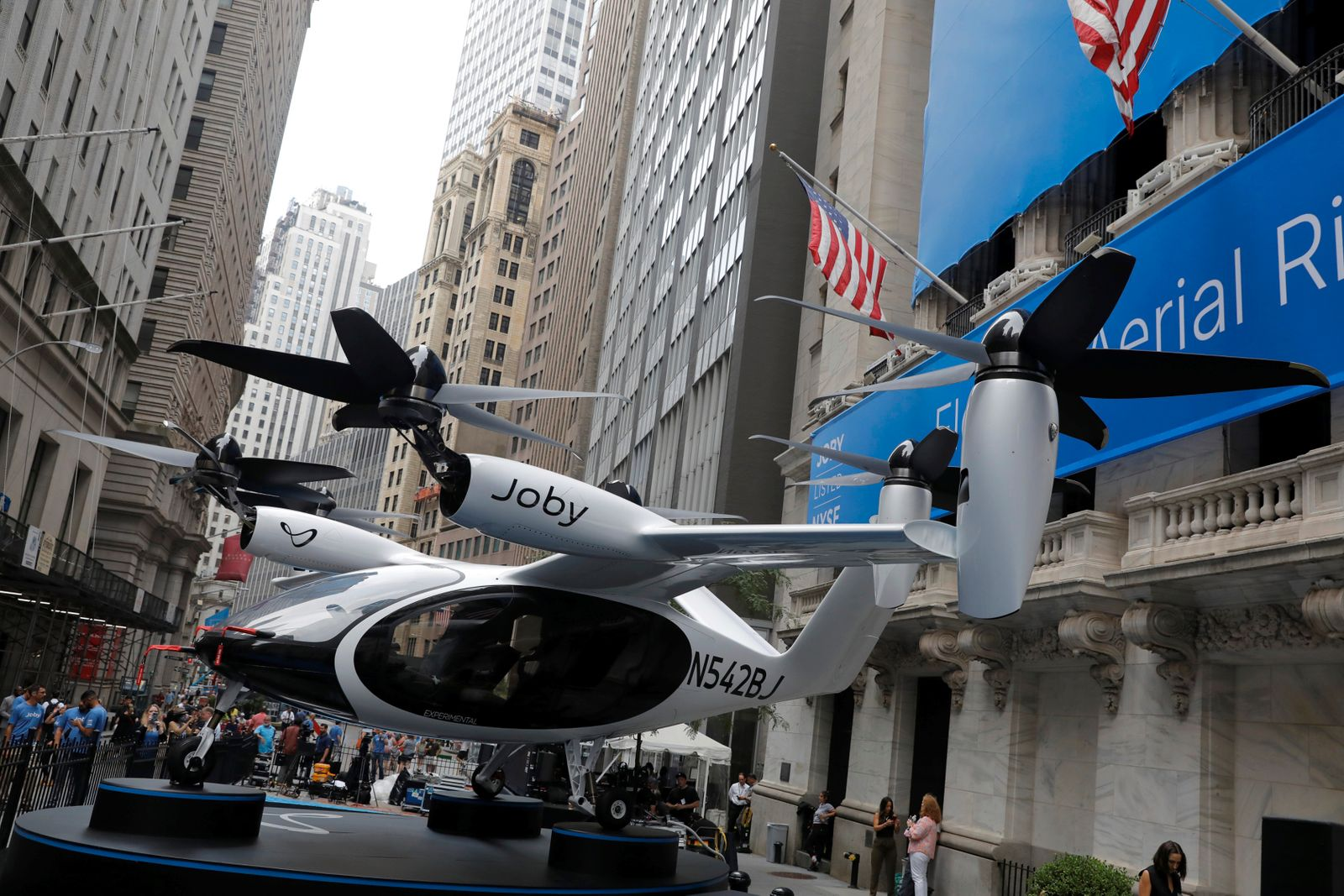A Joby Aviation Air Taxi is seen outside of the New York Stock Exchange (NYSE) ahead of their listing in Manhattan, New York City
