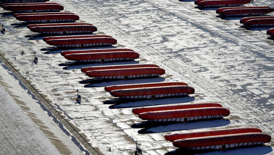 Rumpfteile der Boeing 737 Max in Wichita, Kansas, USA: Seit Januar dieses Jahres hat Boeing die Produktion des Unglücksfliegers eingestellt
