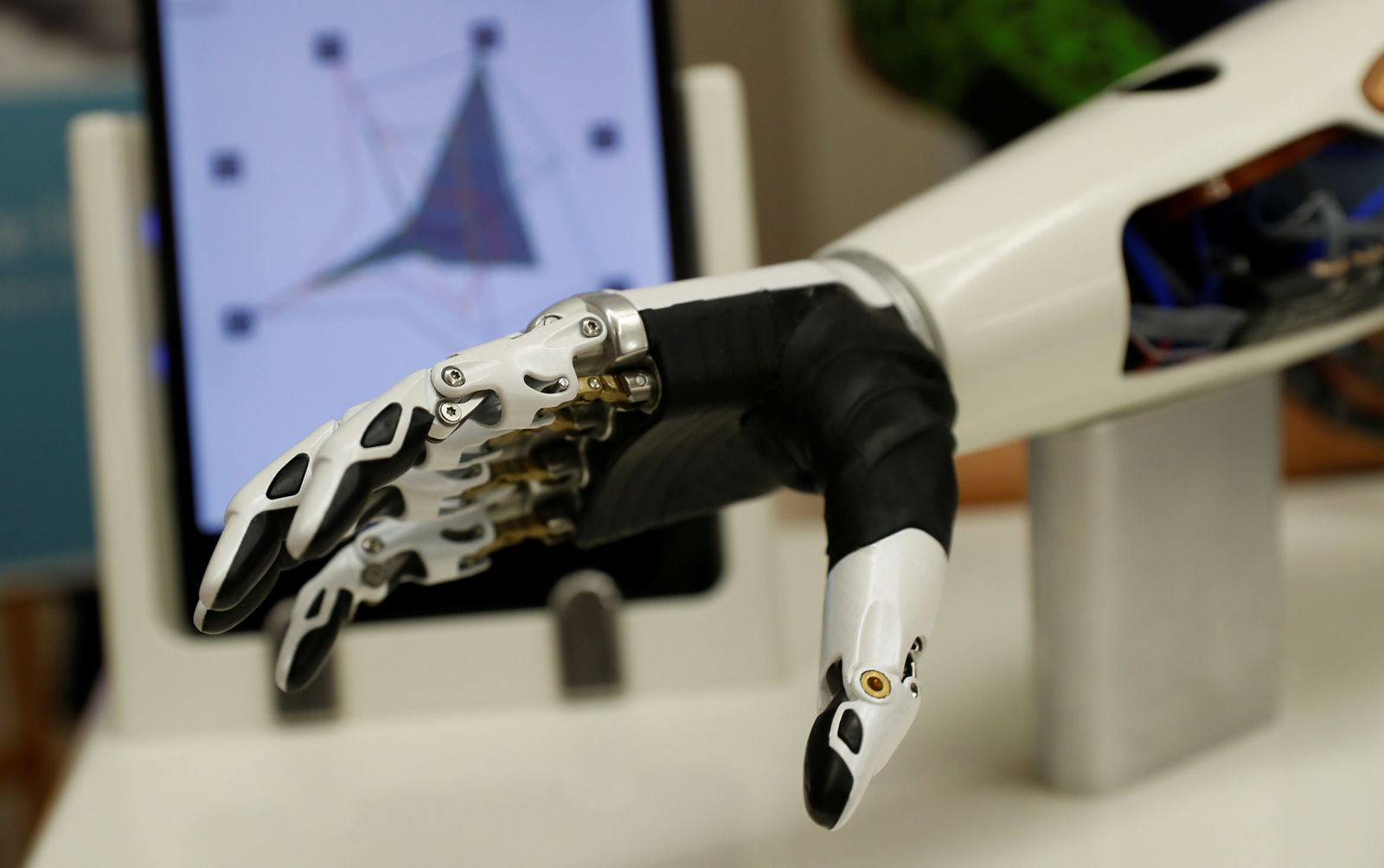 A bebionic hand is seen during the Ottobock media day in Vienna