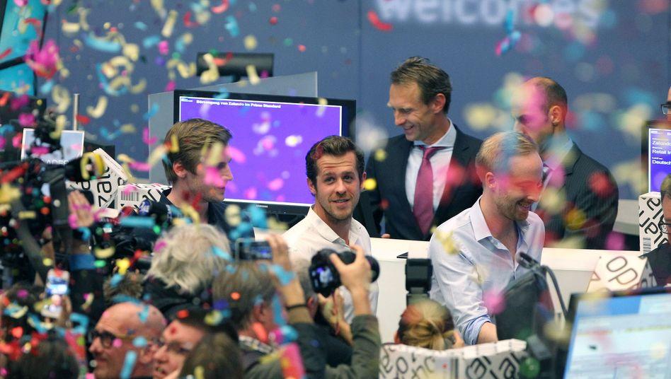 Zalando-Vorstände beim Börsengang 2014: Der Online-Händler beglückt seine Aktionäre mit dem Rückkauf eigener Aktien