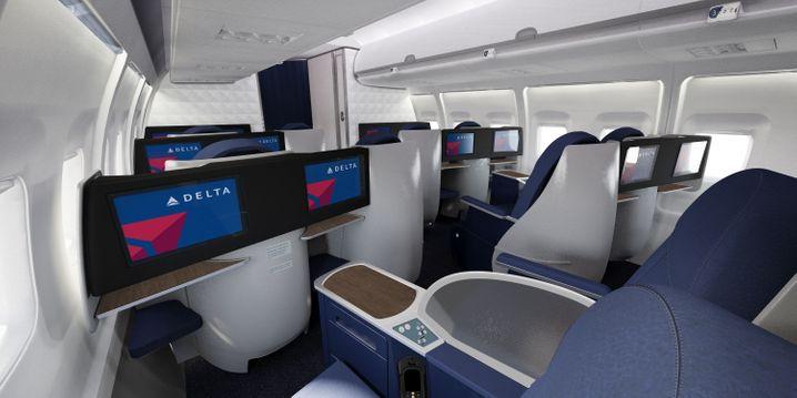 """Delta Airlines: Großräumige Anordnung in der """"Domestic First Class"""""""