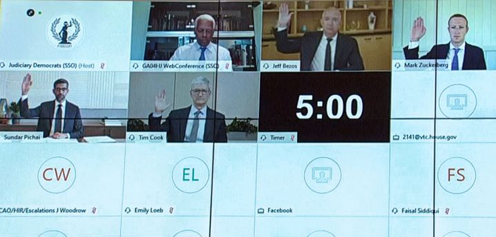 Schwur per Videokonferenz:Jeff Bezos (Mitte oben),MarkZuckerberg,Sundar PichaiundTim Cook im Capitol Hill