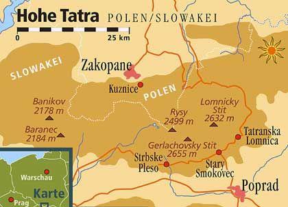 Aufgeteilt auf zwei Länder: Die Hohe Tatra liegt zu einem Fünftel in Polen und zu vier Fünfteln in der Slowakei