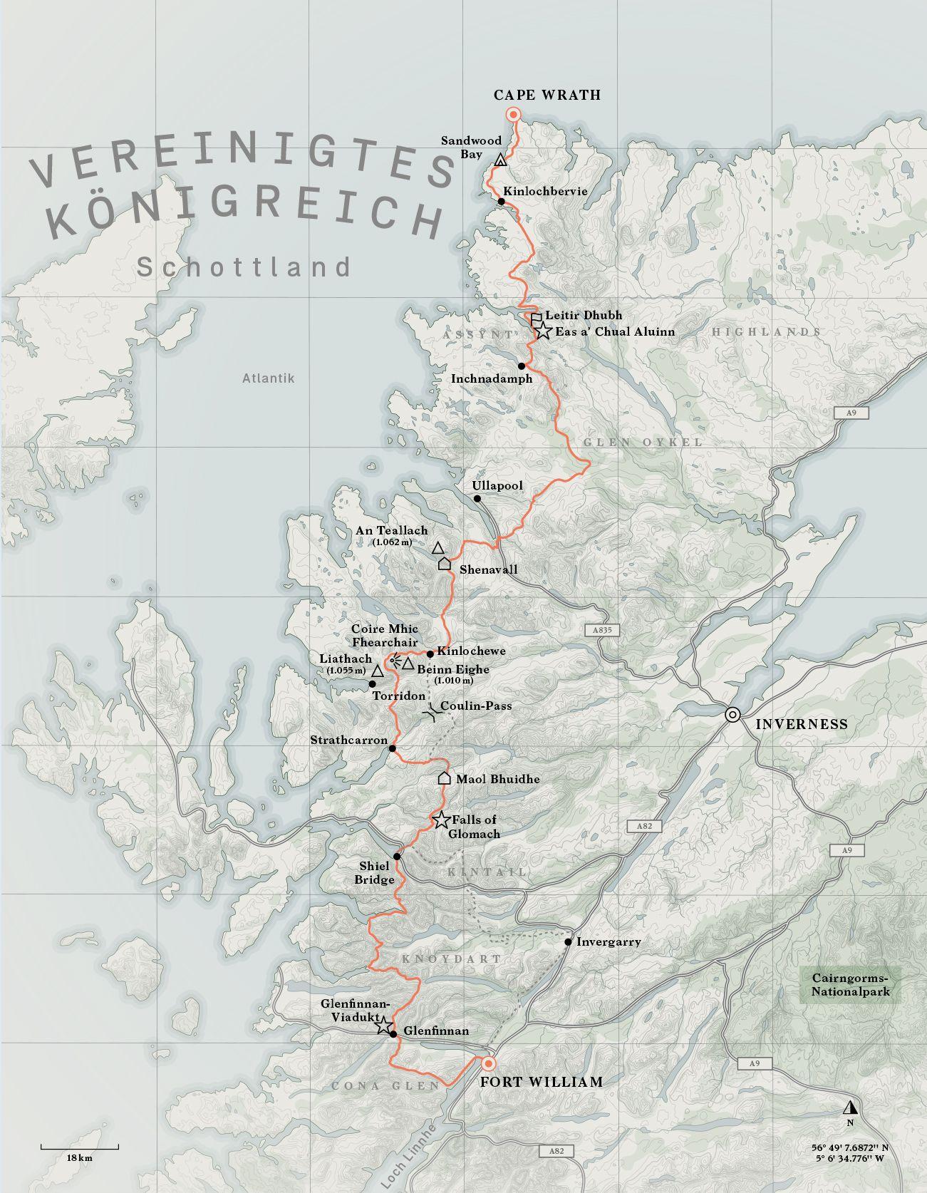 Buch Wanderlust Europa / gesalten 2020 / Karte vom Cape Wrath Trail S.33