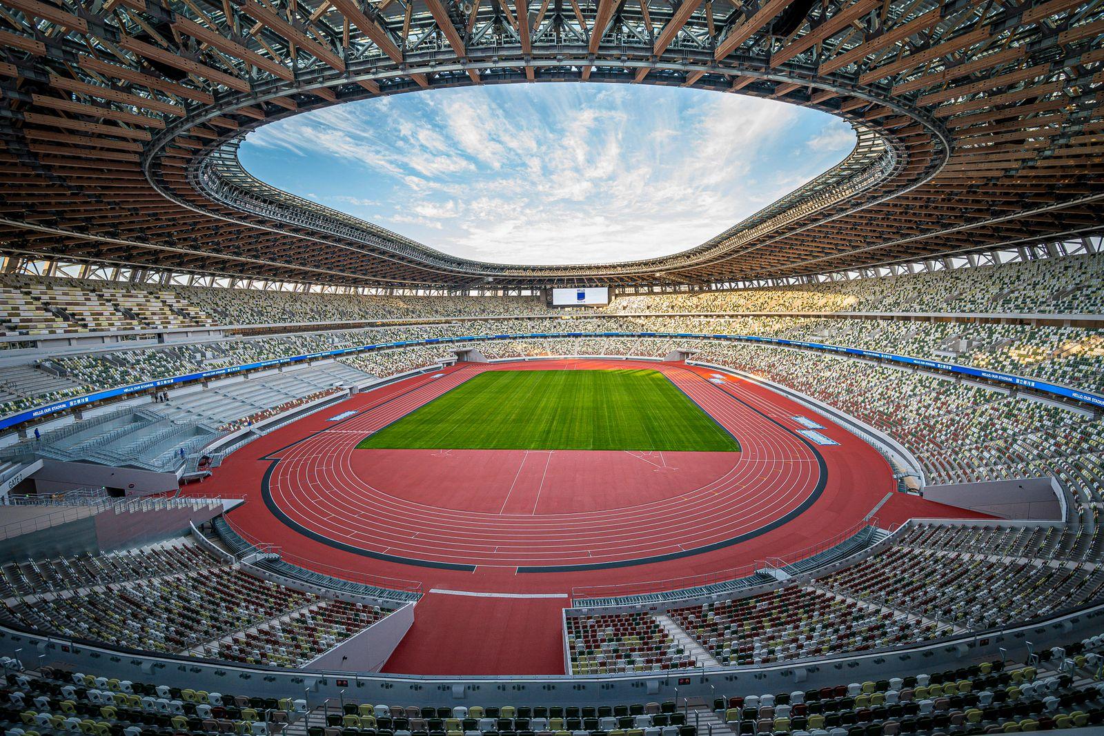 Tokio, Japan: Olympische Spiele 2020 - National Stadium - Olympiastadion Innenansicht National Stadium ohne Zuschauer To