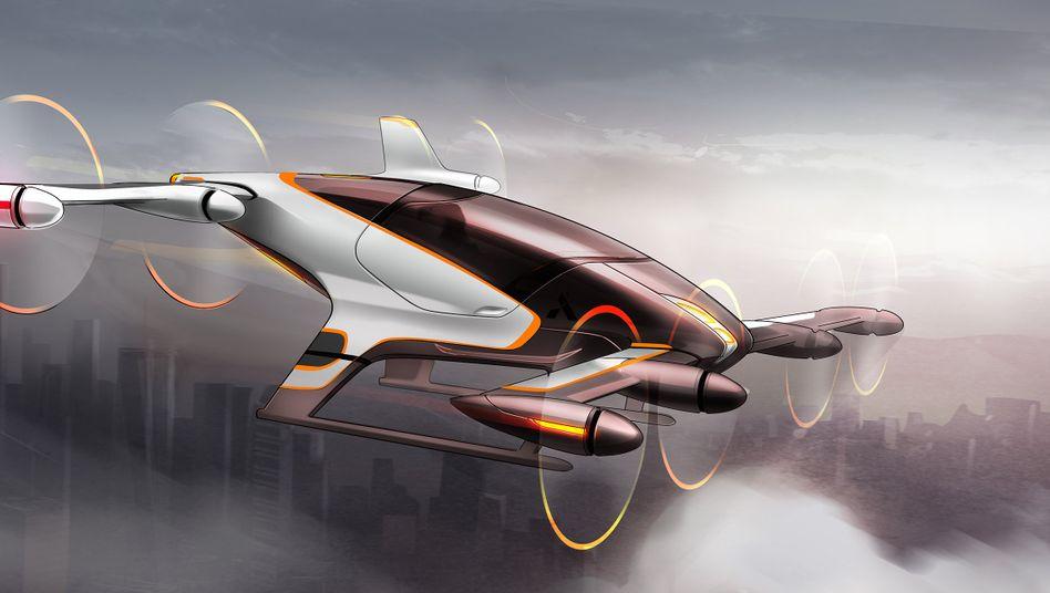 Konzeptzeichnung von Airbus' Vahana-Projekt: So stellt sich der Flugzeugbauer eine Personen-Drohne vor